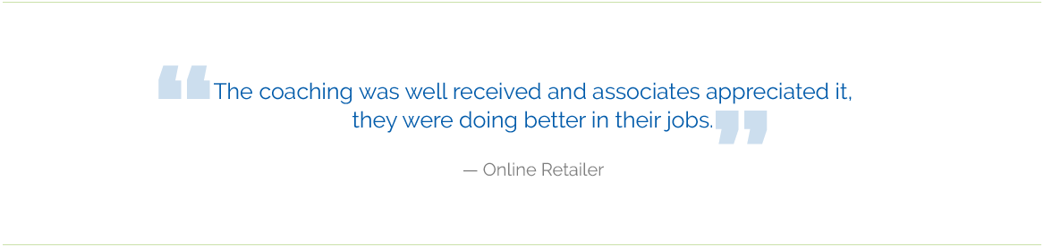 online retalier testimonial - Coaching and Training